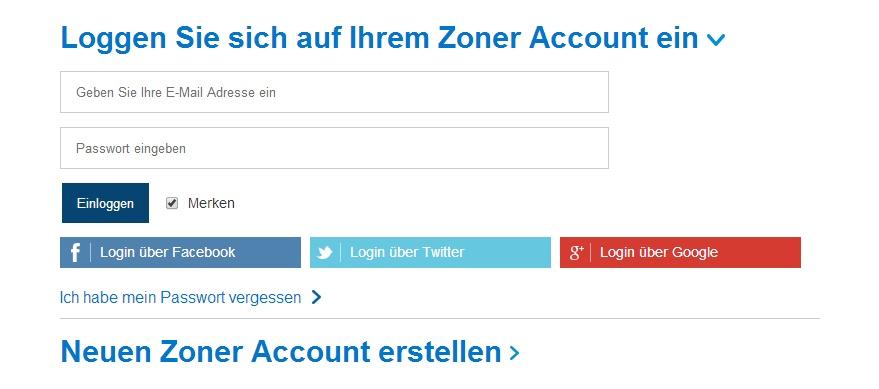Anmeldung bzw. neue Registrierung eines Zoner-Kontos.