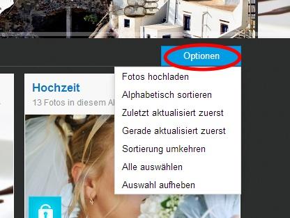 Im Drop-down-Menü Optionen können Sie Bilder hochladen, anordnen oder gesammelt auswählen.