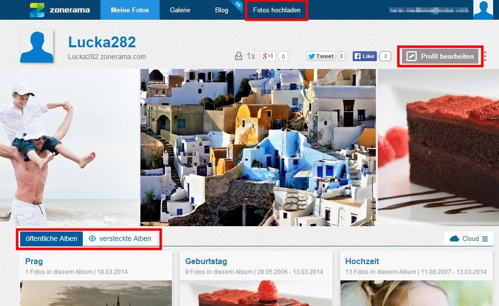 Die Darstellung Ihrer öffentlichen und verstecketen Alben, der Fotoupload und die Profilbearbeitung.