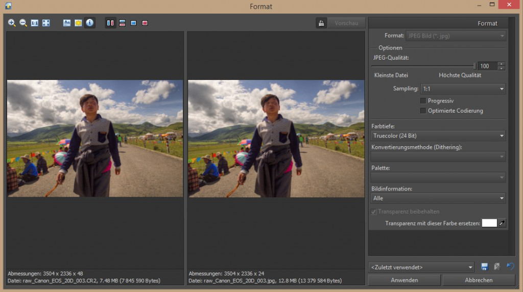 Das Speichern als JPEG Format.