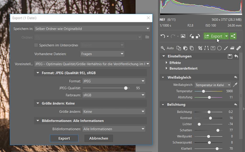 Wie bearbeitet man Fotos im RAW-Format: Speichern Sie das Endergebnis im JPEG-Format mithilfe des Export-Buttons ab.