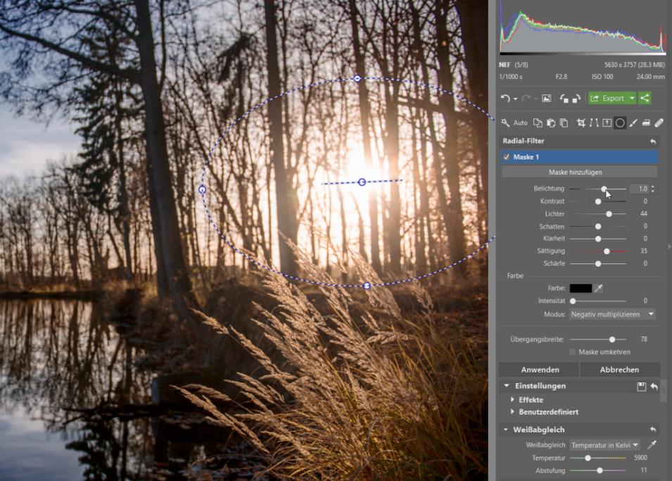 Wie bearbeitet man Fotos im RAW-Format: Lokale Hervorhebung der Sonne.