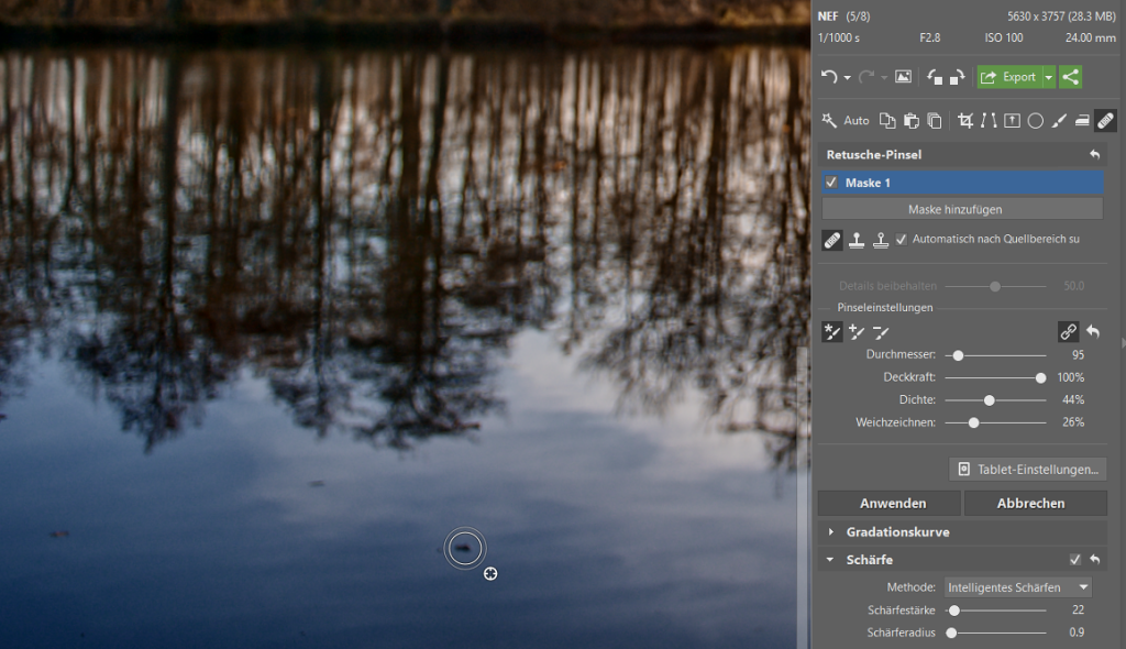 Wie bearbeitet man Fotos im RAW-Format: Retuschieren Sie kleine Mängel.