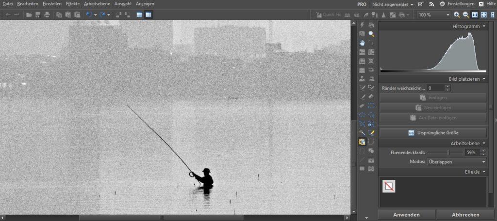 100%iger Zoom für die Zugabe der Filmkörnung und die Parametereinstellung.