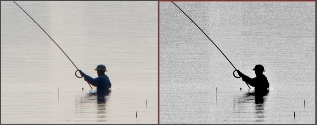 Der Vergleich des Original- und Resultatfotos (100% Zoom).