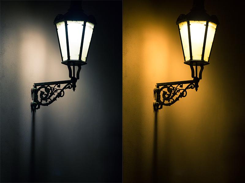 """Die Lampe mit verschiedenen Weißabgleichen, keine der Varianten ist """"falsch"""". Canon 5D Mark III, Canon EF 70-200/2.8 IS II, 1,60 s, F2,8, ISO 800, Brennweite 200 mm"""