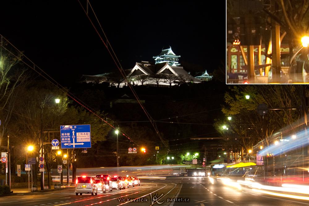 Die Burg Kumamoto, aufgenommen mithilfe eines Geländers. Im Detailbild sieht man zwar gewisse Unschärfen im Vergleich zu Stativaufnahmen, aber es ist immer noch gut taugliches Foto. Canon 40D, Canon EF-S 55-250/4-5,6 IS, 3,2 s, F6,3, ISO 100, Brennweite 55 mm