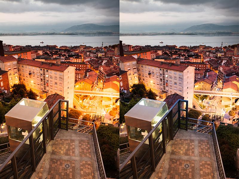Straße und Umgebung in Santander. Rechts die Szene nach lokalen Bearbeitungen der stark erhellten Stellen. Canon 5D Mark II, Canon EF 16-35/2.8 II, 1/5 s, F4, ISO 800, Brennweite 29 mm.