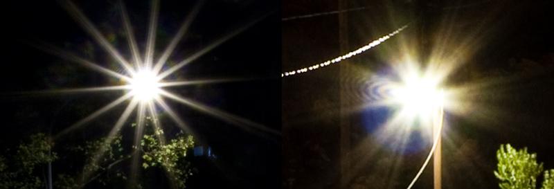 Verschiedene Sternenformen an den Lichtquellen. Links das Objektiv Canon EF-S 10-22/3,5-4,5 (6 Lamellen), rechts Sigma 18-50/2.8 (7 Lamellen).