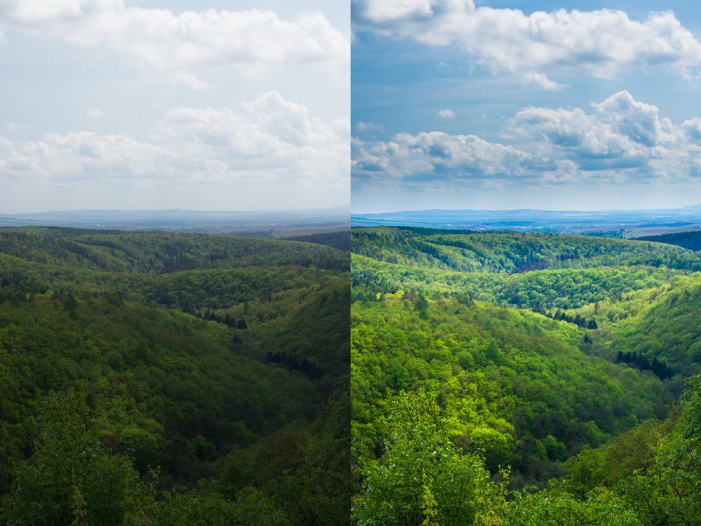 """Bearbeitetes und """"rohes"""" Foto der Frühlingshügel. Canon 7D, Sigma 30/1.4, 1/60 s, F9, ISO 100, Brennweite 30mm"""