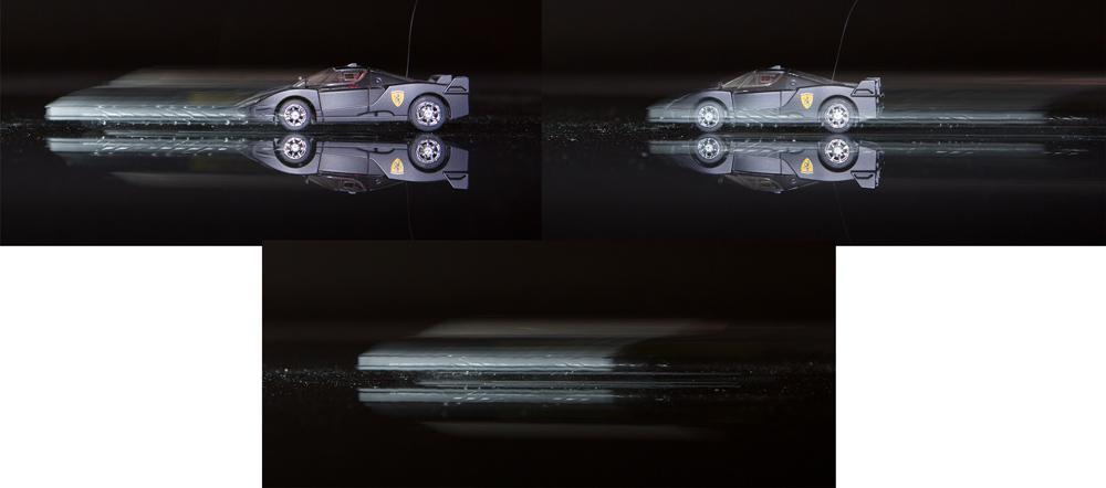 """Beispiel von Synchronisation mit erstem und zweitem Verschlussvorhang. Das Auto hat sich stets nach vorne bewegt, die Belichtungszeit betrug 1/4 Sekunden. Wird der Blitz am Beginn der Aufnahme entladen (links), kommt es zu einem unschönen Schleier. Damit er schön """"richtig"""" hinter dem Auto zu sehen ist, muss man die Synchronisation mit dem zweiten Verschlussvorhang einstellen (rechts). Unten noch vergleichshalber die Aufnahme komplett ohne Blitz.  Canon 5D Mark III, Canon EF 24-70/2.8, 0,25 s, F5,6, ISO 800, Brennweite 42 mm"""
