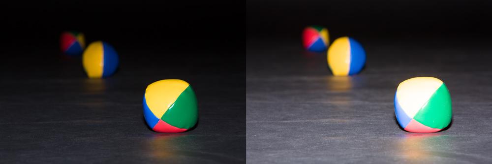Die Bälle befinden sich 1, 2 und 3 Meter von der Kamera entfernt, der Raum ist dunkel. Wird der erste Ball belichtet, bleiben die anderen zwei ziemlich dunkel. Wird die Blitzleistung um ein Vierfaches erhöht, wird der zweite Ball richtig belichtet, der erste ist somit jedoch überbelichtet.  Canon 5D Mark III, Canon EF 70-200/2.8 IS II, 1/200 s, F16, ISO 200, Brennweite 150 mm