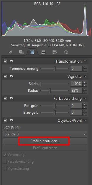 Das Objektivprofil fügen Sie ganz einfach, indem Sie den Objektivhersteller und –typ zwischen den LCP-Dateien auswählen, hinzu.