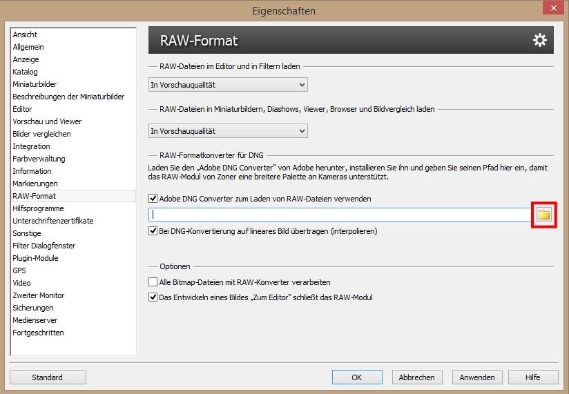 Die Pfadeinstellung zum Konverter von RAW-Dateien in DNG.