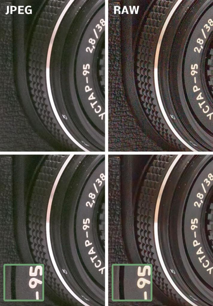 Das Ergebnis des Aufhellens, links in JPEG und rechts in RAW.
