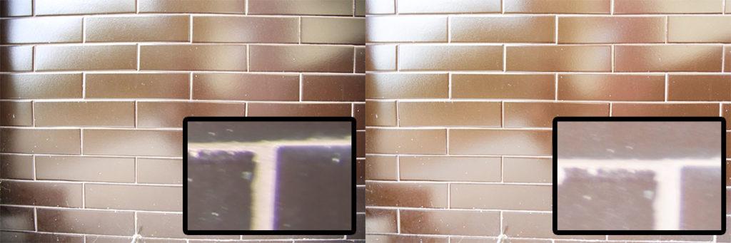 JPEG links und RAW mit automatischer Korrektur rechts. Im Detail jeweils ein Ausschnitt aus der unteren rechten Ecke.