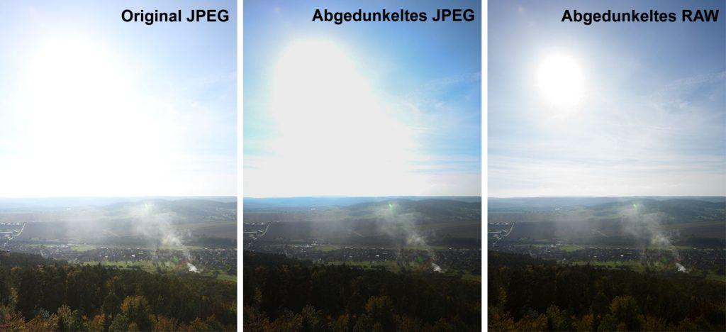Das identische Foto in zwei Dateien – JPEG und RAW – beide durch selbiges Abdrücken erstellt. Versucht man den Himmel im JPEG abzudunkeln (hier konkret um cca. 1,39 EV), bekommt man als Ergebnis nur eine einfarbige Fläche. RAW erlaubt uns, in größerem Maße abzudunkeln, auch wenn man hier später ebenfalls an Grenzen stößt. Canon 5D Mark III, Canon EF 16-35/2,8 II, 1/125 s, F8,0, ISO 160, Brennweite 27 mm