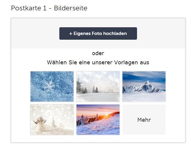 Sie können ein eigenes Foto hochladen oder ein Bild aus den Vorlagen aussuchen.