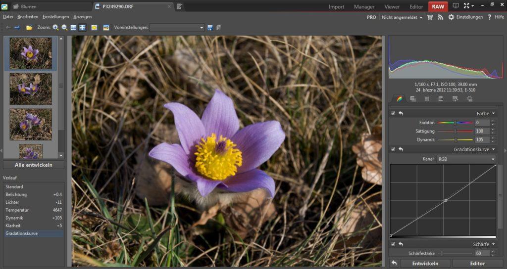 """Bei der Verarbeitung von Fotos auf dem Computer können Sie aus dem digitalen Negativ immer mehr """"herausholen"""", als aus einem in JPEG abgespeicherten Bild. Der RAW Konverter des Zoner Photo Studios bietet Ihnen alle notwendigen Werkzeuge für das """"Entwickeln"""" der Fotos. Es ist nicht wirklich komplizierter als im Editor."""