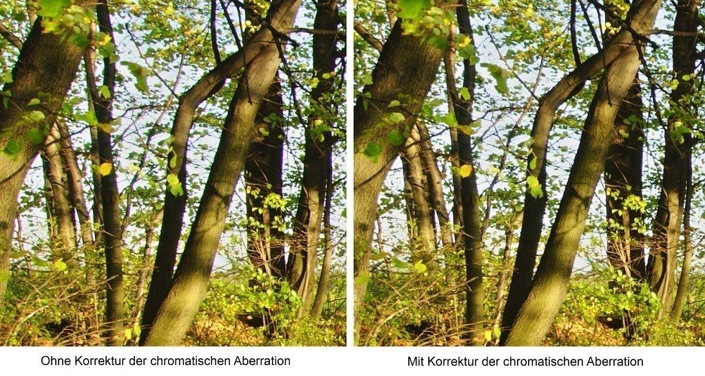 Entfernung der Vignettierung und weiterer Objektivmängel dank LCP (und DCP): Chromatischen Aberration.