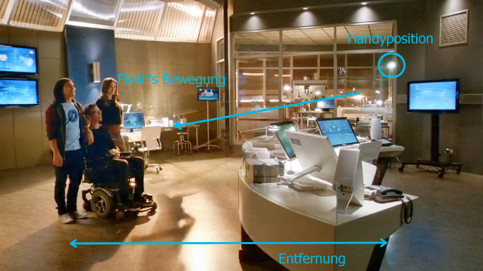 Anblick von der Gegenseite. Flashs ursprünglicher Platz ist leer, das Handy hängt mit leuchtender Diode in der Luft. Flash bewegt sich nach links (siehe Schatten am Boden).