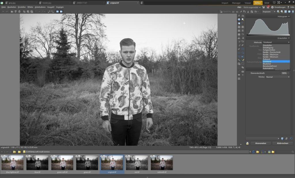 Mithilfe des Grautöne-Tools wurde das Foto in Schwarz-Weiß umgewandelt.