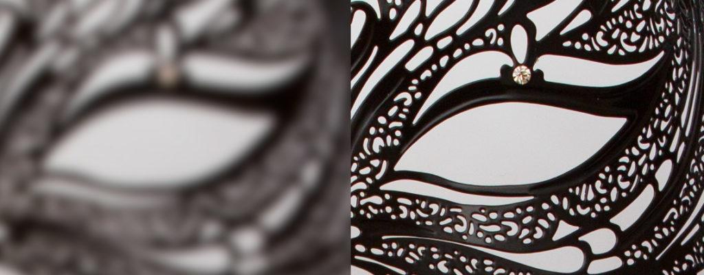Niedriger Kontrast an den Kanten (links) am nicht scharfgestellten Bild. Rechts hoher Kontrast nach Fokussierung.