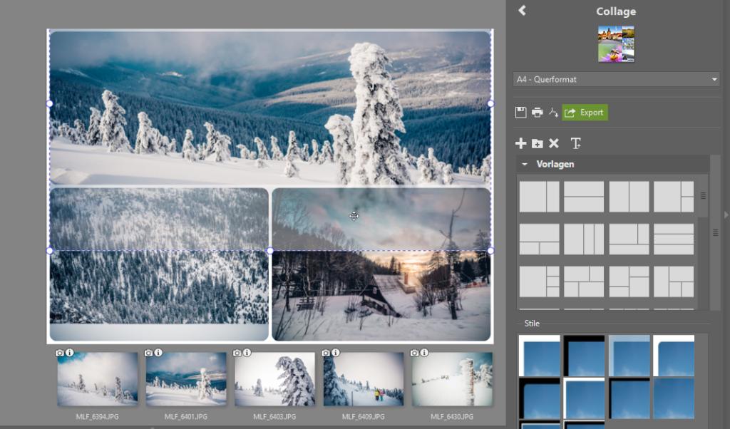 Mehrere Fotos auf 1 Seite drucken: passen Sie die Positionierung der Bilder an.