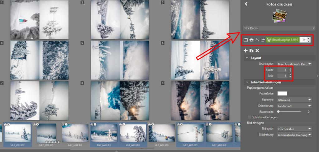 Mehrere Fotos auf 1 Seite drucken: Sie können das Foto direkt drucken, exportieren oder den Fotodruck bestellen.