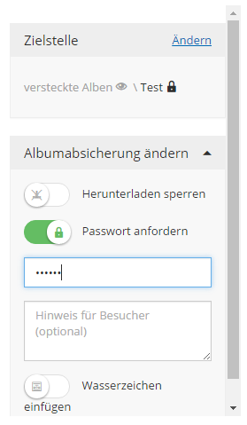 """Alben können Sie auch mit einem Passwort schützen, indem Sie den Schiebebalken bei """"Passwort anfordern"""" verschieben und im nächsten Feld das Kennwort eingeben."""