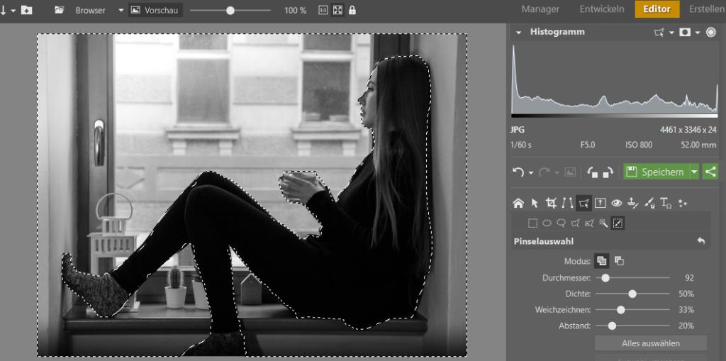 Mithilfe der Auswahlwerkzeuge kann man nur diejenigen Bereiche des Bildes auswählen, mit denen man arbeiten will – in diesem Fall mit dem Hintergrund hinter der Figur.