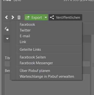Ein Knopf genügt, um verschiedene Optionen zur Veröffentlichung anzuzeigen.