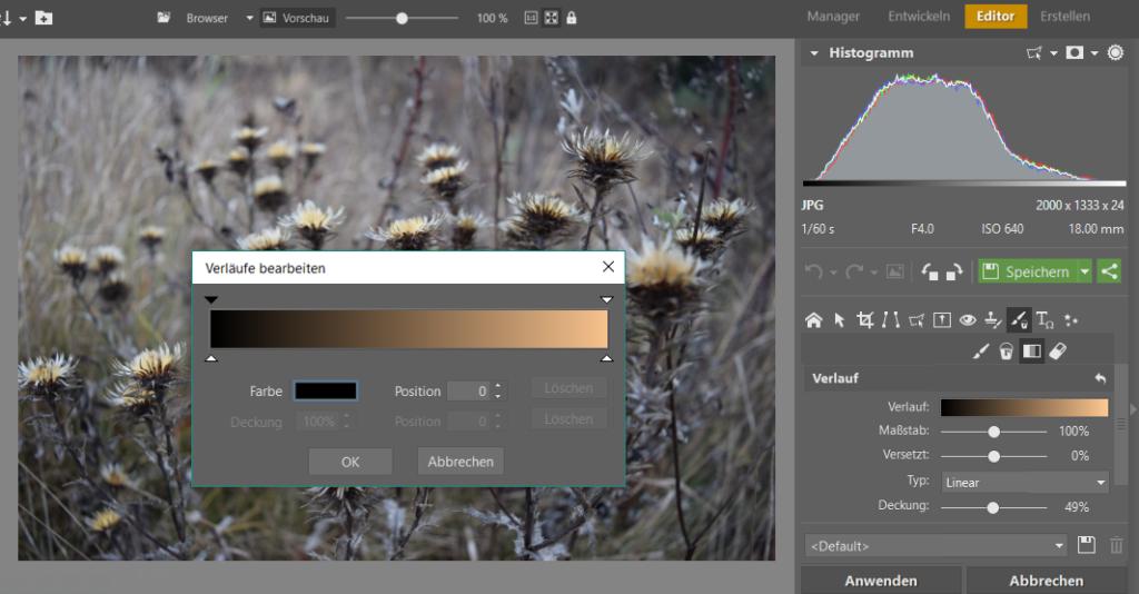Die Farben legen Sie fest, indem Sie auf die Farbpalette klicken. Danach sollte das Dialogfenster Verläufe erscheinen. Klicken Sie auf den Pfeil über dem Verlauf und im Feld Farbe wählen Sie Ihre gewünschte Farbe aus.