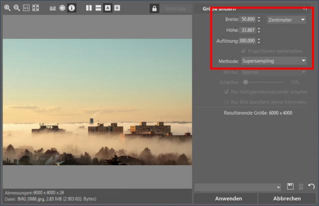 """Für klassische Fotos im Format 15 x 10 cm stellen Sie """"Supersampling"""" als Methode ein."""