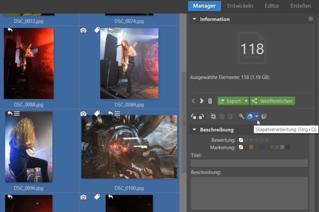 Klicken Sie auf die Stapelverarbeitung, um eine Bearbeitung auf mehrere Fotos gleichzeitig anzuwenden.
