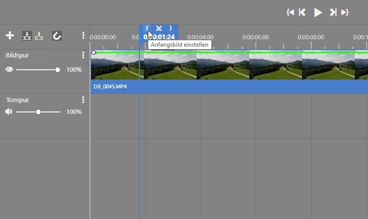 Videoschnitt mit nur wenigen Klicks: anfangsbild einstellen.