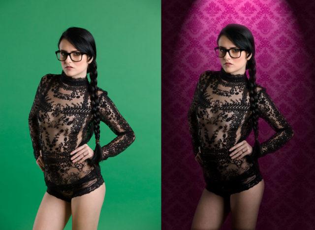 Die Komposition eines Models und einem Hintergrund, bei dem man nicht weiß, worauf das Fotomodel steht, ist deutlich einfacher.