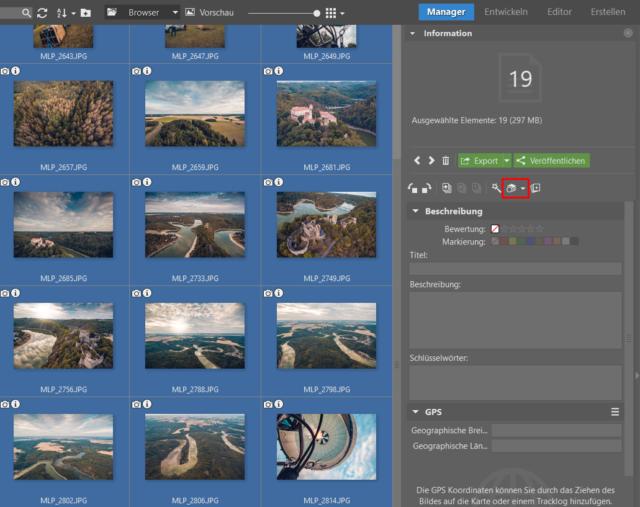 Wählen Sie die Fotos aus und klicken Sie auf das Icon Stapelverarbeitung.