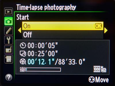 Timelapse-Videos: Intervall und Anzahl der Aufnahmen einstellen.