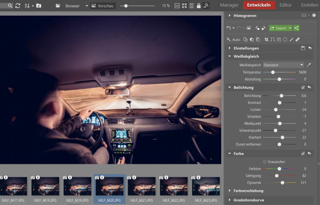 Timelapse-Videos: Bearbeiten Sie ein Foto bis Sie mit dem Ergebnis zufrieden sind. Kopieren Sie danach die Einstellungen.