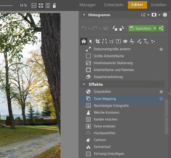 HDR: Probieren Sie die das Tool Tone Mapping im Modul Editor aus.