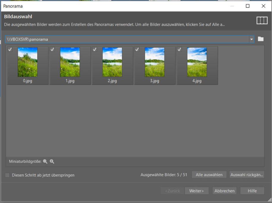 Erfahren Sie, wie man ein Panoramafoto erstellt: Jetzt öffnet sich ein neues Dialogfenster, wo Sie erneut nach der Auswahl der Fotos gefragt werden.