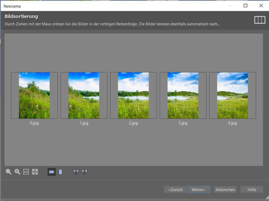 Erfahren Sie, wie man ein Panoramafoto erstellt: Falls die Reihenfolge der Bilder nicht korrekt ist, dann sollten Sie dies jetzt korrigieren.
