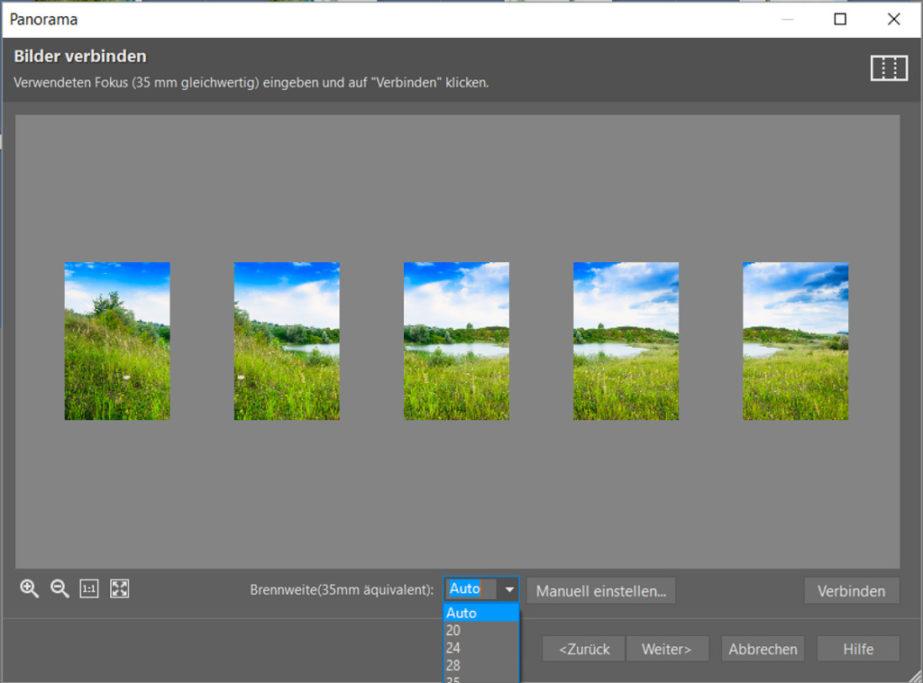 Erfahren Sie, wie man ein Panoramafoto erstellt: Anschließend können Sie die Brennweite des Objektivs bestimmen, damit sich die Bilder so gut wie nur möglich miteinander verbinden.