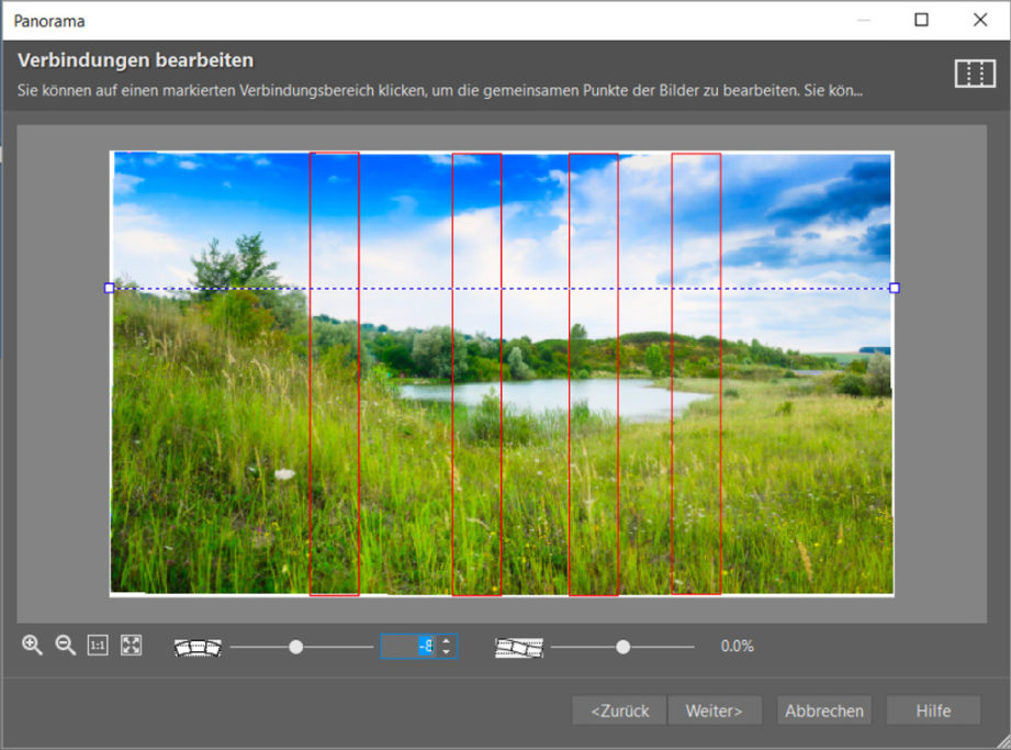 Erfahren Sie, wie man ein Panoramafoto erstellt: Im nächsten Schritt können Sie noch die Verbindung zwischen den einzelnen Fotos bearbeiten.