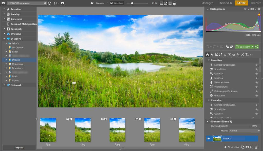 Erfahren Sie, wie man ein Panoramafoto erstellt: Den Feinschliff können Sie anschließend im Modul Editor vornehmen und dann das Bild speichern.