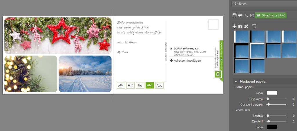 Erstellen Sie individuelle Postkarten zu Weihnachten: Fügen Sie einen Text in die Postkarte ein.
