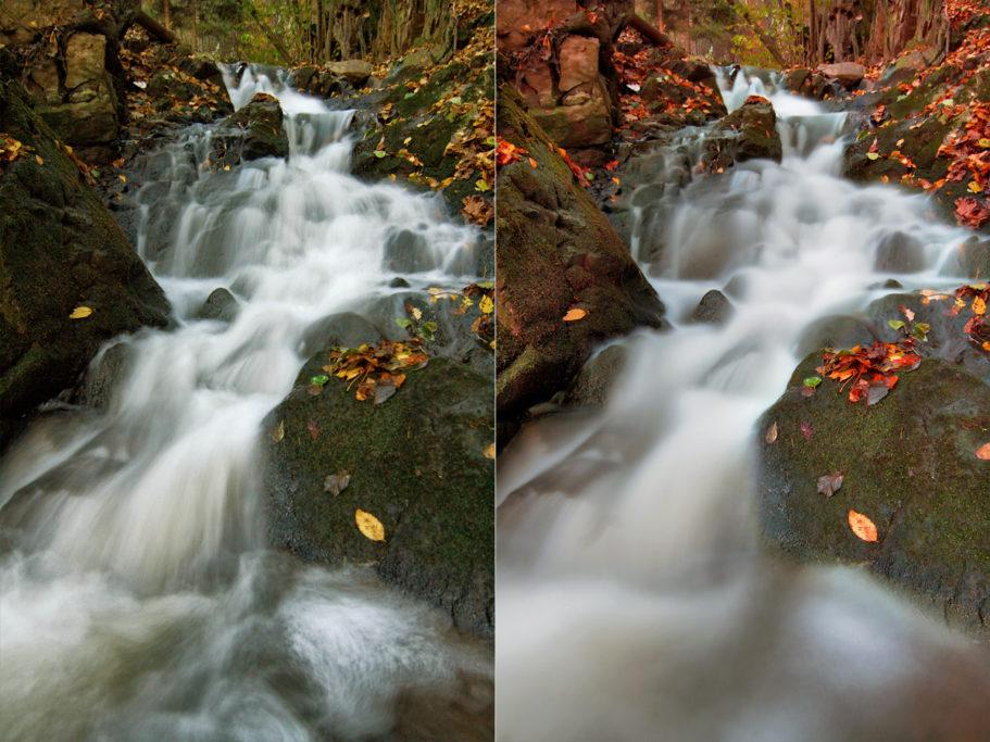 Unterschiedliche Belichtungszeiten mit fließendem Wasser.