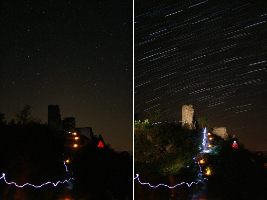 5 Tipps, wie man Startrails fotografiert: Nicht nur mit dem Licht der Sterne über der Burgruine Zubštejn zaubern.