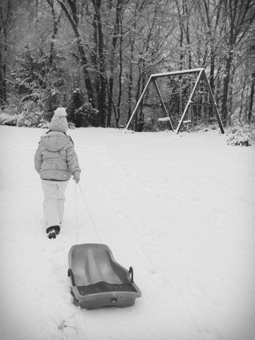 Die Winter-Atmosphäre wird in diesem Bild durch den fallenden Schnee unterstützt.